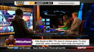 ESPN First Take | Kobe Bryant believes the NBA is too soft - ESPN Sport First Take