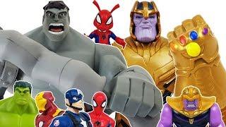 Gray Hulk vs Thanos Gauntlet Battle! Disney Toybox Avengers Spider Man, Iron Man Toys Play.