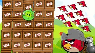 Angry Birds Cannon Collection 1 - OVERDRIVE CANNON BIRDS SHOOTING 100 TNT PIGGIES GAMEPLAY!