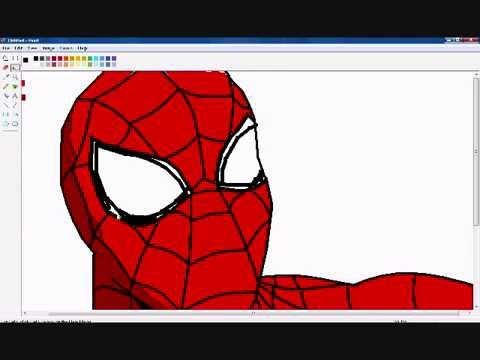 como dibujar a el hombre araa en paint  how to draw spiderman by