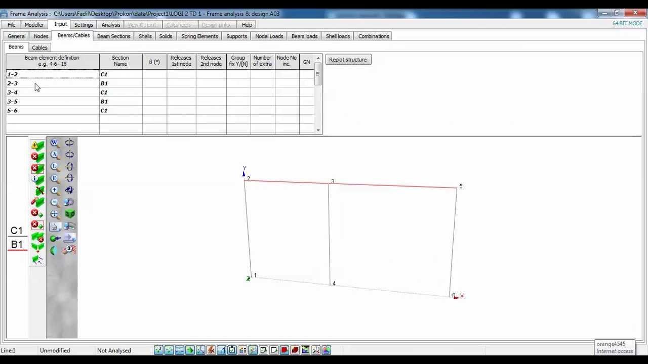 Prokon 2 6 Tutorial 1 - Frame Analysis