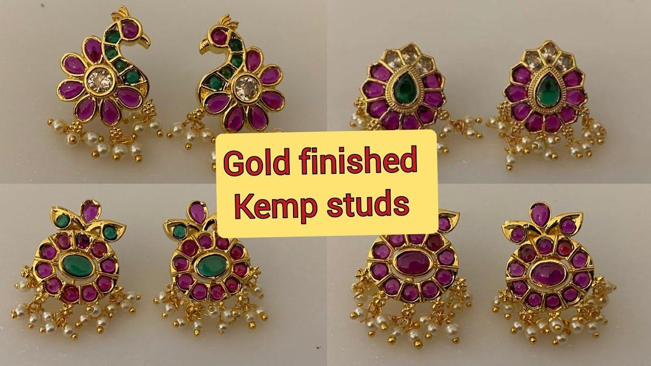 Premium quality gold finishing Kemp emerald studs guttapusalu rice pearls earrings online shopping
