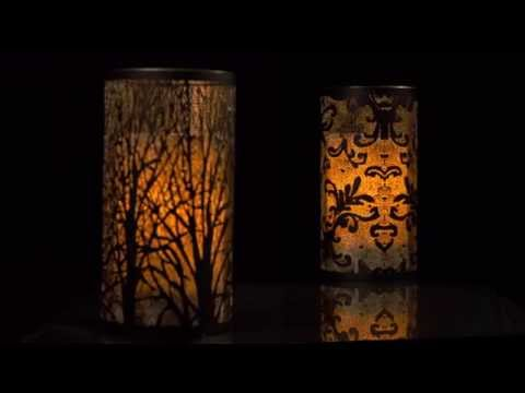 Tree Laser-Cut Metal Luminary with LED Candle by Candle Impressions