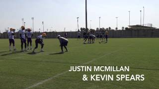 LSU QBs Danny Etling, Justin McMillan, Jake Clise work with WRs