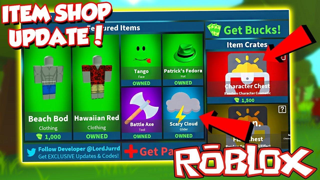 Code New Item Shop Update In Roblox Fortnite Island Royale