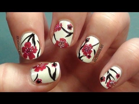 Easy Nail Art Cherry Blossoms How To Paint Flowers On Short Nails For Beginners You