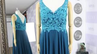 틸 그린 시폰 에이라인 브이넥 이브닝 드레스 1567