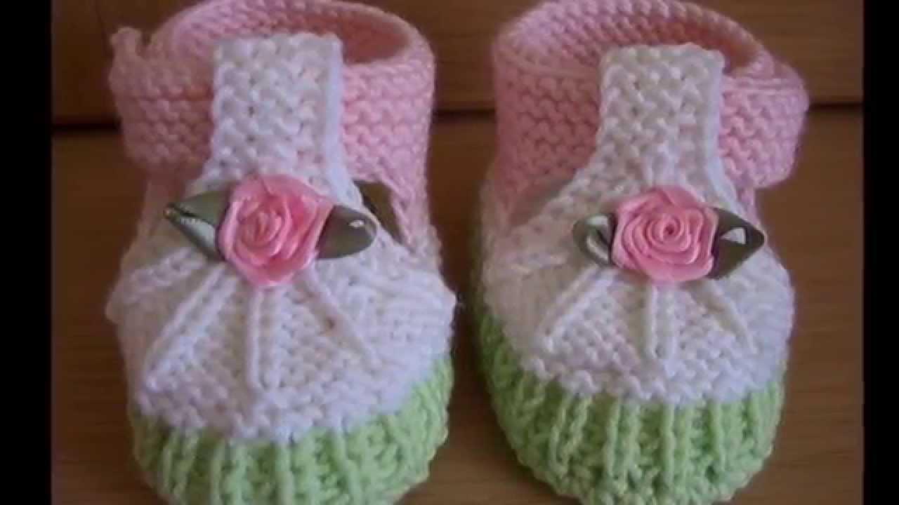 Zapatos faciles tejidos a dos agujas para niños - YouTube