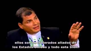 El presidente Rafael Correa, entrevistado por Charlie Rose