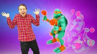 Видео распаковка детям - Новые игры и игрушки: Эволюция черепашек ниндзя. Черепашки против Драксума