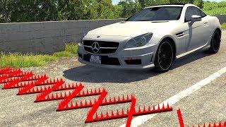 Spike Strip Multi-Vehicle Pileup Crashes #19 - BeamNG Drive Police Spike Strip Testing