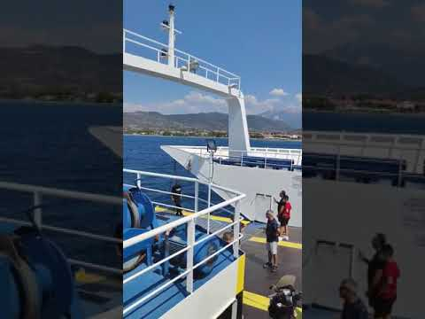 No words.  A child on a flotation device saved by ferry at Antirrio Greece