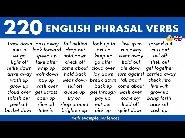 Learn 220 COMMON English Phrasal Verbs with Example Sentences used in Everyday Conversations