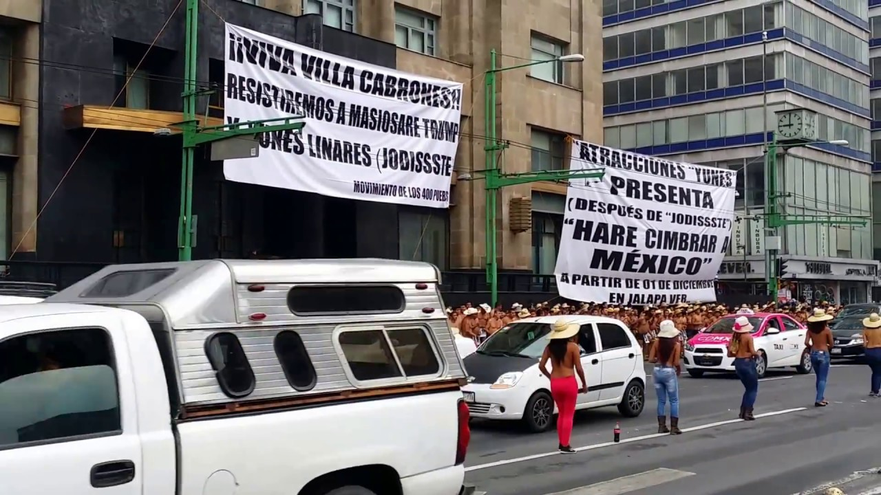 Naked Mexicans Protest Land Grabbing Crimes. Mexico City