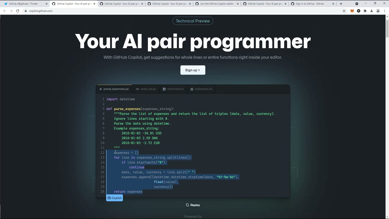 Github CoPilot AI Pair Programmer Launches Today