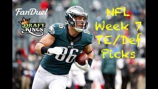 NFL Week 7 Te/Def Picks