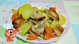 Картошка с мясом запеченная в духовке простой рецепт