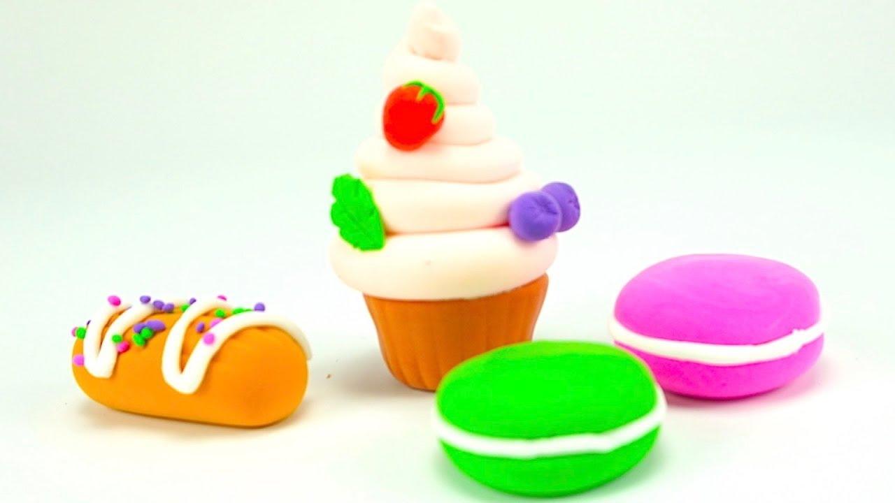Пластилин для детей, учимся лепить пирожные и печенье