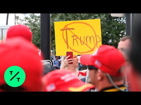 Anti-Trump Protesters Gather Outside Trump's 2020 Kickoff Rally in Orlando