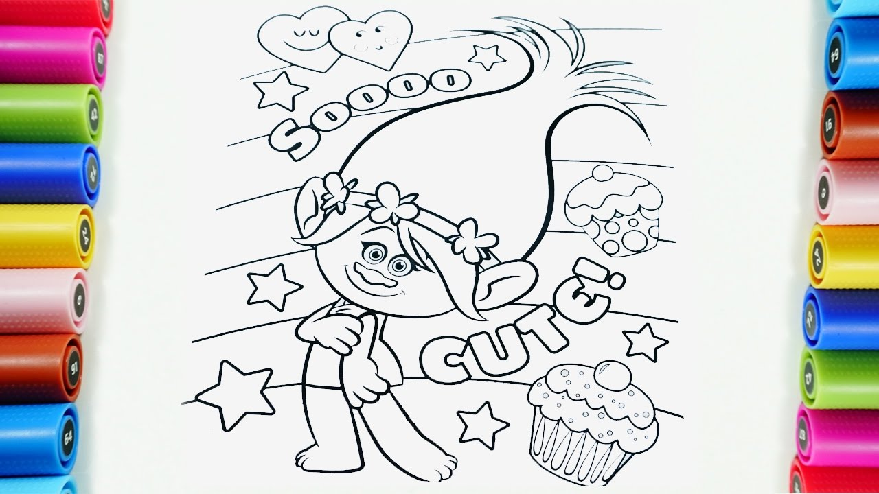 trolls poppy coloring pages for kids, how to color poppy