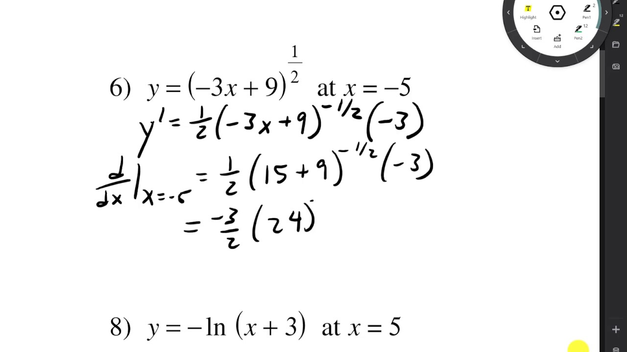 Kutasoftware Derivatives At A Given Value Entire Worksheet