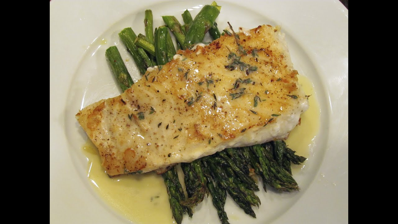 Pan Seared Halibut With Roasted Asparagus And A Beurre Blanc Sauce  Youtube
