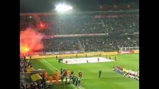 Sparta - Plzeň 1:0 - 30.3.2013 - hymna a nástup