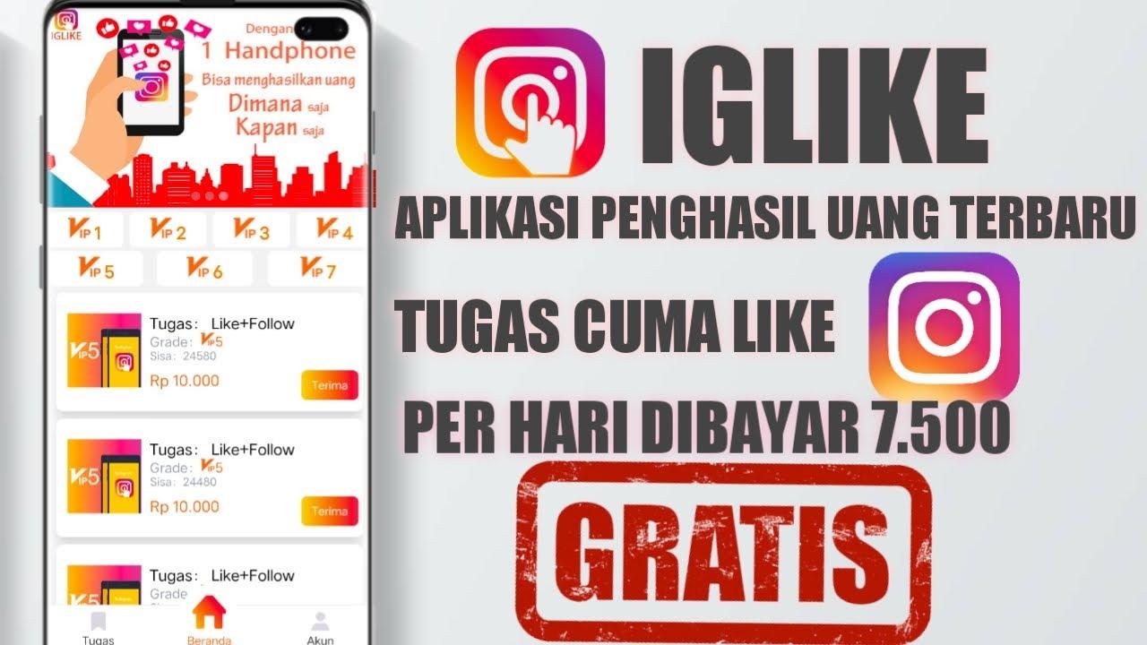 Iglike Aplikasi Penghasil Uang Terbaru Tugasnya Like Instagram Youtube