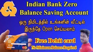 Indian Bank Zero Balance Account Online Opening With UPI&Debit Card ||  Tech and  Techncs