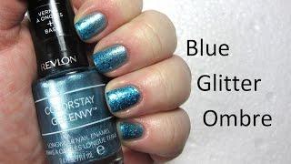 Blue Glitter Ombre nail art - nailhubnz