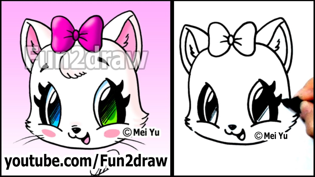 Cute Cat How To Draw A Cat Face Kitten With Bow Easy