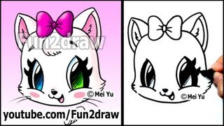 Cute Cat - How to Draw a Cat Face - Kitten with Bow EASY