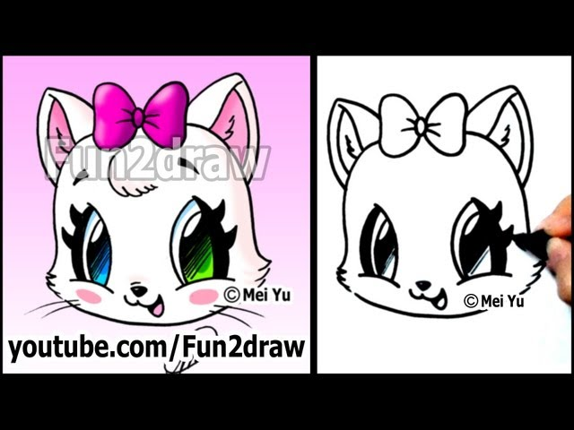 Cute Cat How To Draw A Cat Face Kitten With Bow Easy Funny