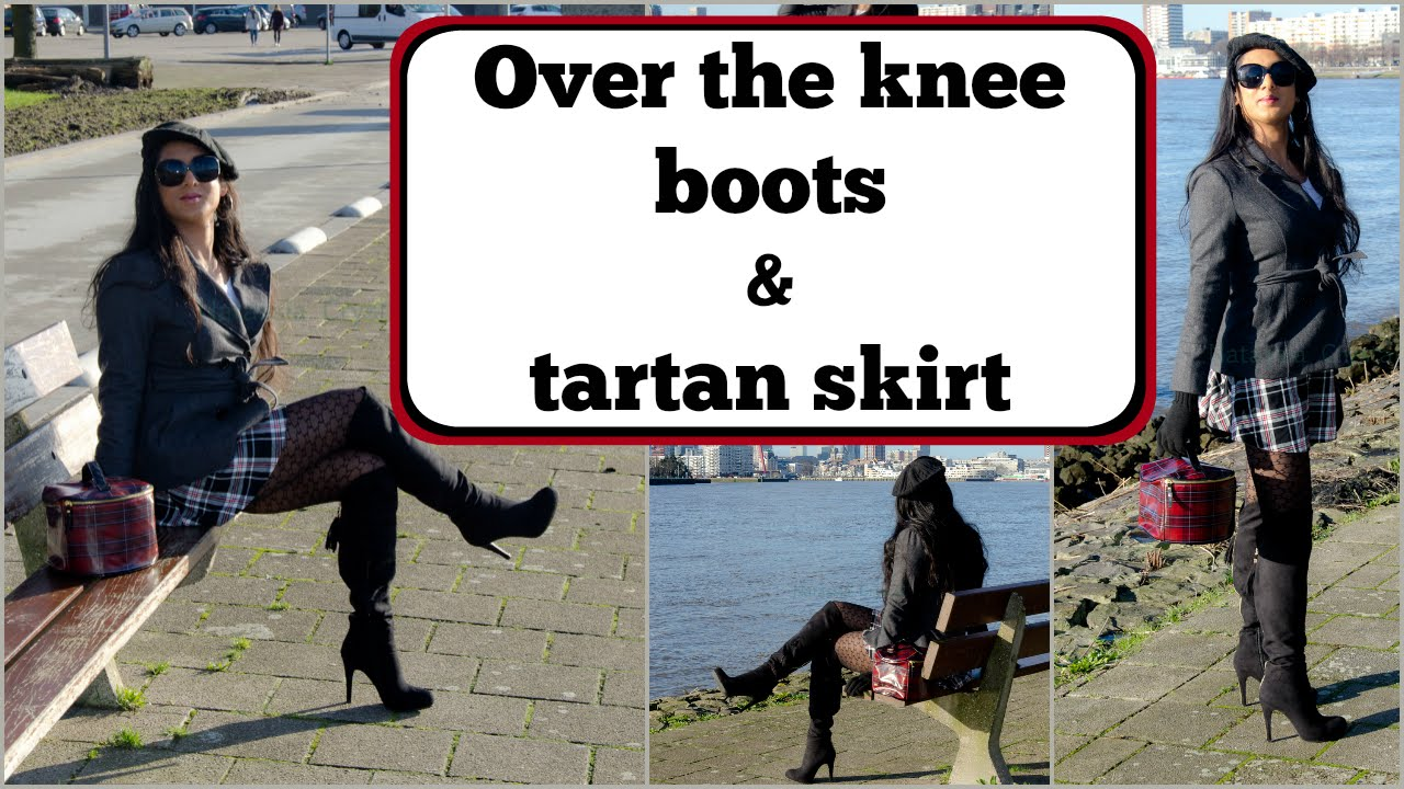 Crossdresser Over The Knee Boots And Tartan Skirt