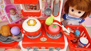 Baby Doll Red color kitchen toys cooking food baby Doli play