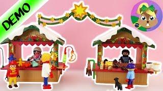 Playmobil Natalino   Feira de Natal com duas barracas   unboxing, montando e demonstrando