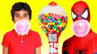 Superhero and Bubble Gumball Machine  ,adel et Sami