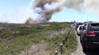 Fire in Big Bay, Cape Town