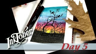 How to draw EASY Birds Silhouettes at Sunset Inktober Day 5