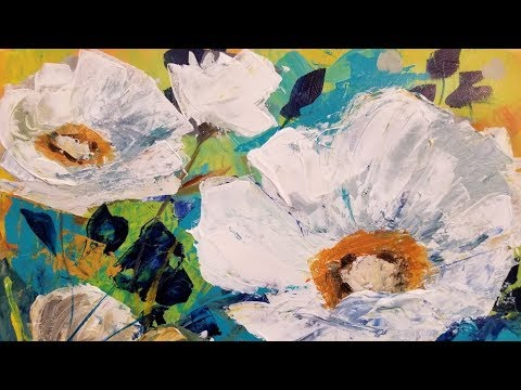 Easy Abstract Contemporary Floral Palette Knife Tutorial LIVE Acrylic Painting