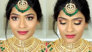 Indian Bridal Makeup For Tan/Medium Skintones Using All Drugstore Products | Nishitha Vunnam