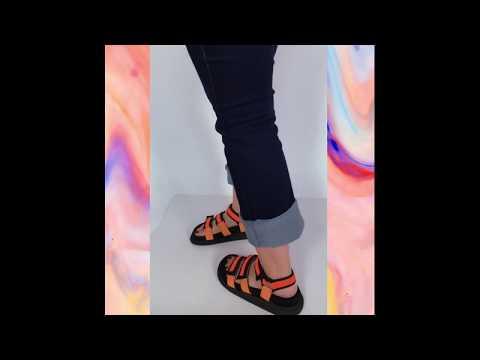 MARS sandália velcro - laranja (vegan)