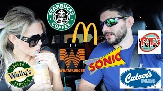 Letting the person IN FRONT order our food + Mukbang | Aaryn Williams