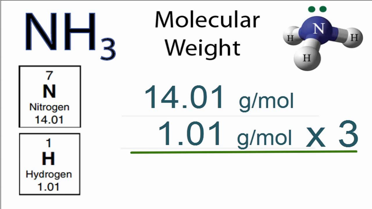 Nh3 molecular weight how to find the molar mass of nh3 ammonia nh3 molecular weight how to find the molar mass of nh3 ammonia youtube urtaz Gallery