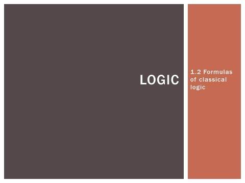 1.2 Formulas of classical logic