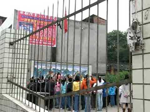 Flagraising at Chinese Elementary School near Chengdu