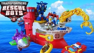 TRANSFORMERS RESCUE BOTS HIGH TIDE TRANSFORMING SHIP RIG OPTIMUS PRIME SHARK SUB HEATWAVE