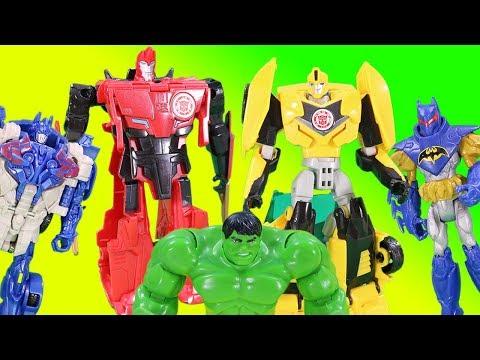 Transformers Toys Magic Surprise Game w/ Optimus Bumblebee Chase Batman & Minions! |
