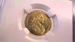 アンティークコイン ドイツ金貨 Mecklenburg Schwerin  Fredrich II gold 2 Taler 1782 MS62 NGC