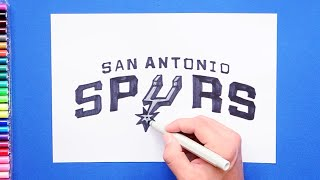 How to draw and color the San Antonio Spurs Logo - NBA Team Series